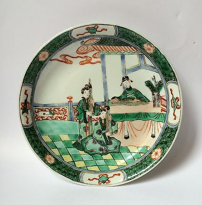 Fine 18/19th C Chinese Kangxi Famille Verte Deep Dish / Plate