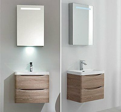 24 inch Modern Wall Mounted Vanity, Two Drawers and Mirror