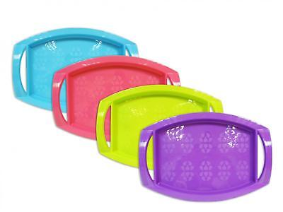 Set Of 4 Plastic Serving Tray With Handles Lap Dinner Bed Tea Lunch 4 Colours