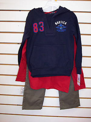 Boys Nautica $59.50 3pc Navy Hoodie Set Size 4 - 7X