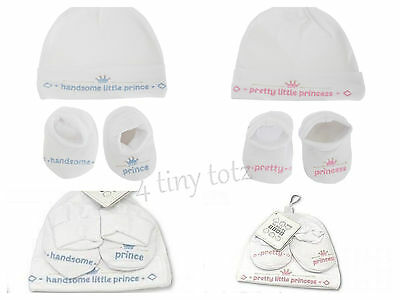 Baby White Hat & Bootee Set Pretty Princess~Handsome Prince  0-3m Gift Set