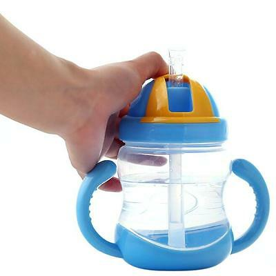 BPA Free 280ML Wide Neck Baby' Feeding Bottle With Straw & Handle Infant Bottles