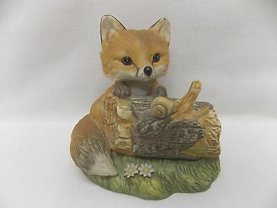 Red Fox on Log Looking at a Snail Figurine Masterpiece Porcelain Homco 1986 5In