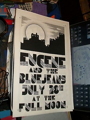 Eugene & The BlueJeans Show Promo Poster Full Moon Saloon 1980s