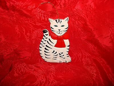 Cat Stripped Wearing Red Bow Wood Christmas Ornament