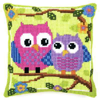 Bright Owl Large Holed Printed Tapestry Canvas Cushion Kit - Chunky Cross Stitch