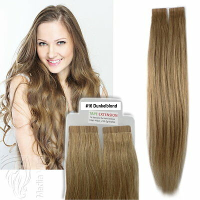Tape In / On 100% Echthaar Remy Hair Extensions Haarverlängerung 2,5g Tresse #16