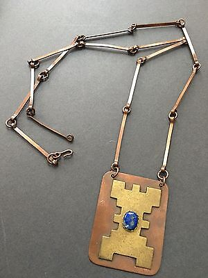 Vintage Arts And Crafts Necklace Pendant Lapis Lazuli Gem On Copper Plate