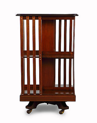 Serpentine Top Inlaid Mahogany Revolving Bookcase