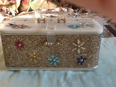 Vintage Lucite Purse With Silver Glitter & Multi Color Jewels Midas of Miami
