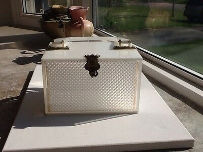 Vintage White & Clear Lucite Purse with Diamond Cut Insert for Two Looks