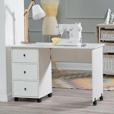 Sewing Machine Rolling Cart Folding Mobile Table Desk Crafts Arts Cabinet Drawer