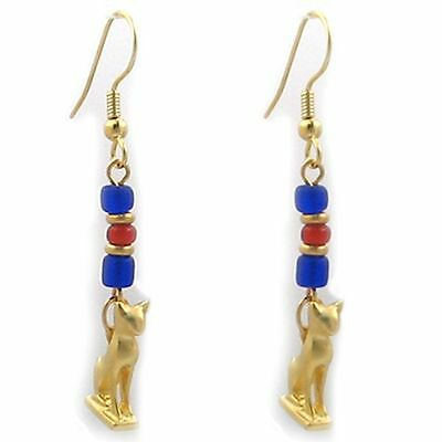 Gold Finish Cat Amulet Dangle Earrings With Ancient Beads