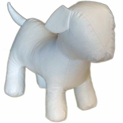 MN-359 WHITE Standing Small Leatherette Dog Puppy Plush Mannequin Doll