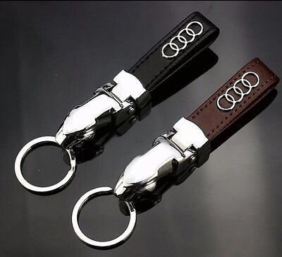 2016 Audi Luxury Black Leather Car Keyring Keychain - Free 1st Class Delivery