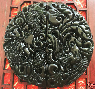 100% Fine Hand-carved Chinese black jade A pair Dragon and Phoenix Pendant