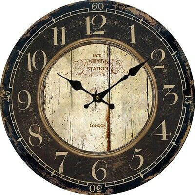 Modern DIY Large Euro Country Vintage Analog Wood Wall Clock Home Office Decor
