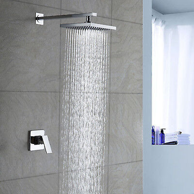 New Single Handle Modern Design Rainfall Shower Faucet Chrome Finish Wall Mount