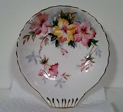 Royal Standard Pink & Yellow Azalea Candy Bowl Scalloped Edge Gorgeous English