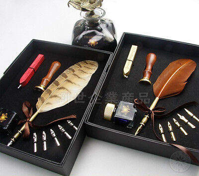 L02 Quill Dip Pen Owl Turkey Feather Sealing Wax Sealing Stamp Bottle Nibs Pack