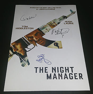 """The Night Manager Pp X3 Signed 12""""x8"""" A4 Photo Poster Tom Hiddleston Hugh Laurie"""