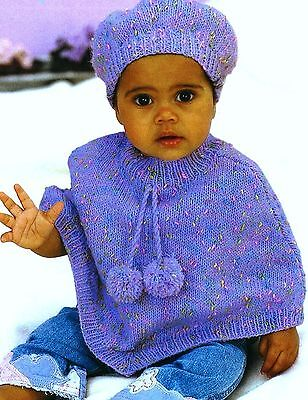 (759) Baby Knitting Pattern for Baby Child's Poncho and Beret, 16-26'', 0-6yrs
