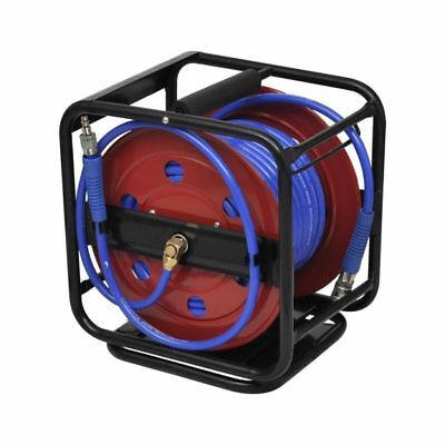 Pneumatic 99' 250 PSI Retractable Air Compressor PU Hose Reel Outdoor Portable