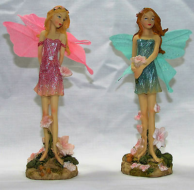 FAIRES~17cm STANDING FLOWER FAIRY~ SET OF 2 ASSORTED