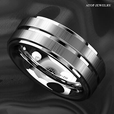 8Mm Silver Tungsten Carbide Ring Two Vertical Brushed Meteorite wedding band