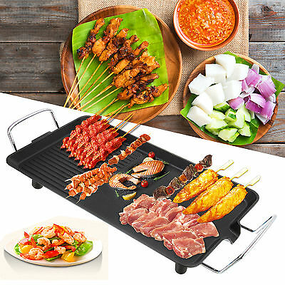 AU Electric Large Teppanyaki Table Top Grill Griddle Plate BBQ - 48x28cm