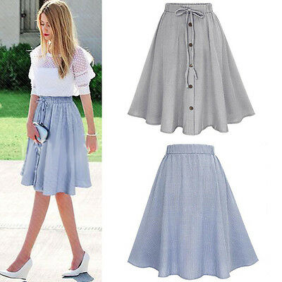 Women's Vintage Stretch High Waist Plain Skater Flared Pleated Long Skirt Dress