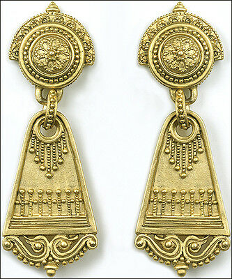 "Roman Dangle Post Earrings w/ Sterling Silver Posts 0.75"" x 2""  24kt Gold-plated"