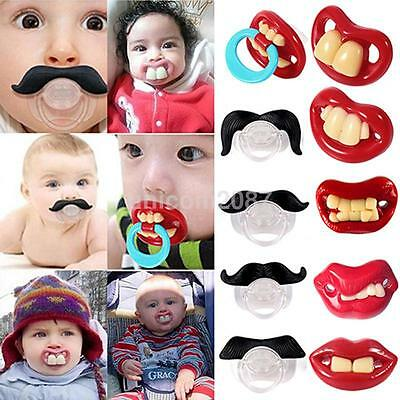Funny Dummy Dummies Pacifier Novelty Teeth Moustache Baby Child Soother 9 Styles