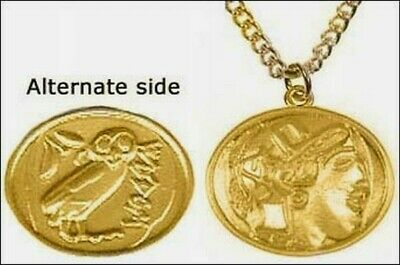 "Greek Athena Owl 2-sided Pendant 24 Karat Gold Plated with 18"" Gold Plate Chain"