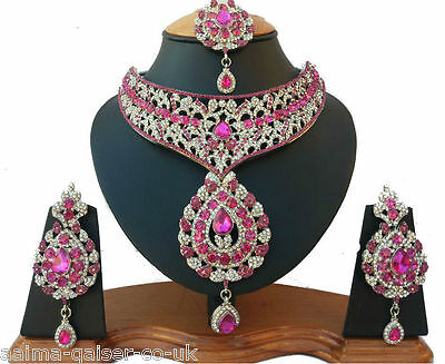Indian Vintage Jewellery Set Silver Plated Cerise Clear Stones New - Aq/80
