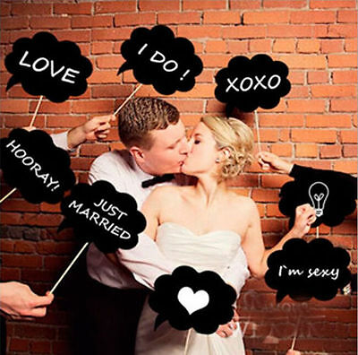 2016  10pcs Photo Props Wedding Birthday Party DIY Write On Stick Photography