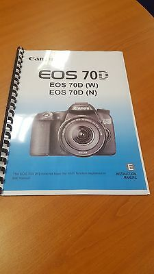 Canon Eos 70D Full User Manual Guide Instructions Printed 468 Pages A5