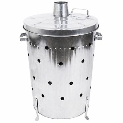 75 Litre Incinerator Galvanised Garden Fire Wood Rubbish Ash Leaves Bin Burner