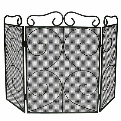 TAPTON FIRE SCREEN 3 Panel Folding Black Fireplace Spark Cover Shield Protector
