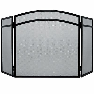 MILTON FIRE SCREEN Arched Safety Guard Black Shield Spark Fireplace 3 Panel