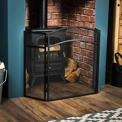 Milton Fire Guard Arched Safety Guard Black Shield Spark Fireplace 3 Panel