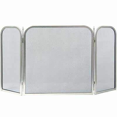 ROXBY FIRE SCREEN Square Safety Guard Nickel Shield Spark Fireplace 3 Panel