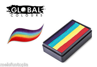 Global Colours 30g New York Fun Stroke Rainbow Cake, Professional Face Paint