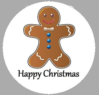 24 x 40mm Personalised Stickers Round Gingerbread Man Christmas Labels Seals