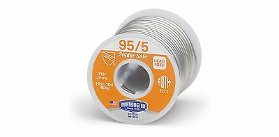 Solid Wire Solder, 95/5 Lead Free 1LB by Worthington # 331760,