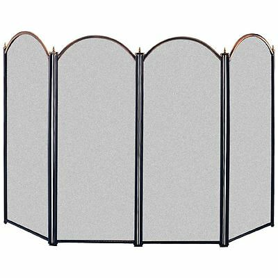 STANTON FIRE SCREEN Freestanding Safety Guard Brass & Black 4 Panel Protector