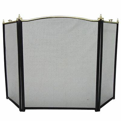 BURLEY FIRE SCREEN Freestanding Safety Guard Black & Brass 3 Panel Protector