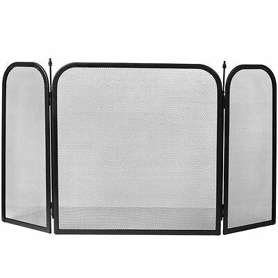 ROXBY FIRE SCREEN Square Safety Guard Black Shield Spark Fireplace 3 Panel