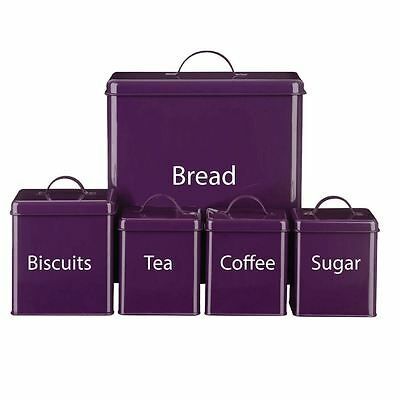 STORAGE SET 5 Piece Purple Sugar Tea Coffee Biscuits Bread Kitchen Canister Set