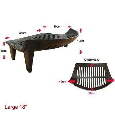 FIRE GRATE Cast Iron Grill Black Coal Log Bow Fronted Open Fireplace 18 Inch
